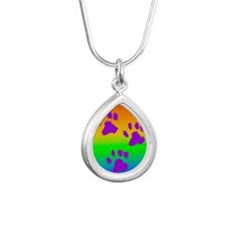 neck oval paws rainbow Silver Teardrop Necklace
