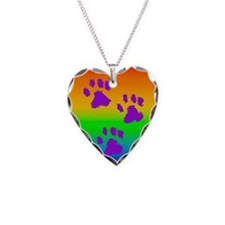 neck oval paws rainbow Necklace