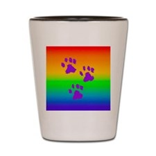 necklace round paws rainbow Shot Glass