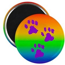 necklace round paws rainbow Magnet