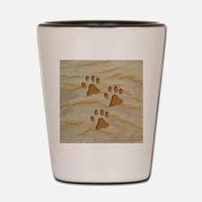 necklace round paws sand Shot Glass