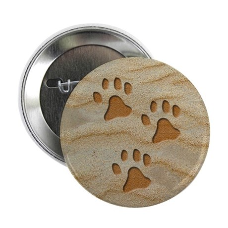 """necklace round paws sand 2.25"""" Button"""