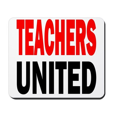Teachers united red and black Mousepad