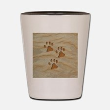 necklace heart paws sand Shot Glass