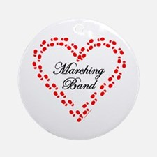 Red Marching Band Heart Ornament (Round)