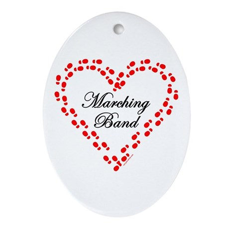 Red Marching Band Heart Oval Ornament
