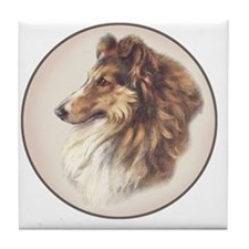 Vintage Sable Collie Tile Coaster