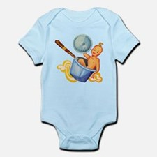 Retro Foodie Baby In Soup Pan Body Suit