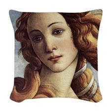 The Birth of Venus (detail) Woven Throw Pillow
