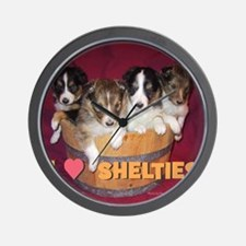 Canei_puppies_in_basket_square_iloveshe Wall Clock