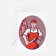 Butcher sharpening knife in butchery Greeting Card