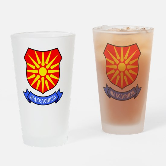Macedonia Flag Crest Drinking Glass