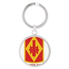 SSI - 75th Fires Brigade with Text Round Keychain