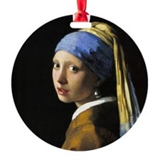 Girl With a Pearl Earring Round Ornament
