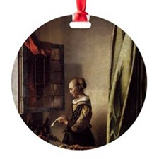 Girl Reading a Letter at an Open Wi Round Ornament