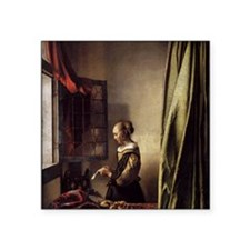 """Girl Reading a Letter at an Square Sticker 3"""" x 3"""""""