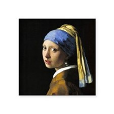"""Girl With a Pearl Earring Square Sticker 3"""" x 3"""""""