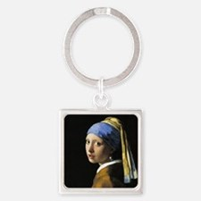 Girl With a Pearl Earring Square Keychain