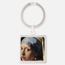 Girl With a Pearl Earring (detail) Square Keychain
