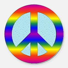 Peace Sign (Rainbow) Round Car Magnet