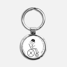 button_slow_going_wheelchair1 Round Keychain