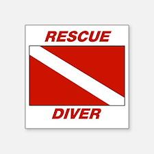 """Rescue Diver Square Sticker 3"""" x 3"""""""