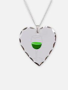 got green wine white Necklace Heart Charm
