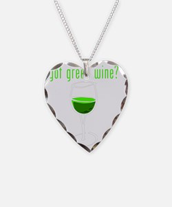 green wine white outline Necklace