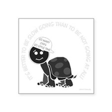 "neg_slow_going_turtle Square Sticker 3"" x 3"""