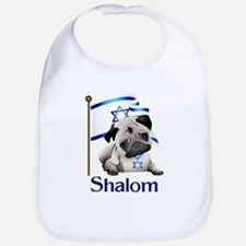 Shalom Pug with Israeli Flag Bib