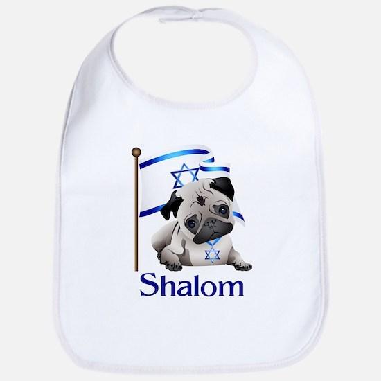 Shalom Pug with Israeli Flag Bib