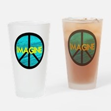 IMAGINE with PEACE SYMBOL Drinking Glass