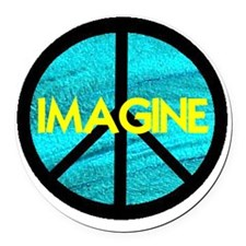 IMAGINE with PEACE SYMBOL Round Car Magnet