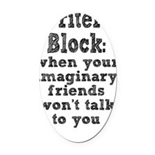 writers-block_tall2 Oval Car Magnet