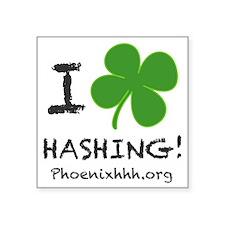 "I Clover Hashing Square Sticker 3"" x 3"""