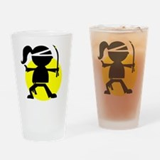 Ninja Girl Karate Drinking Glass