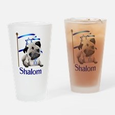 Shalom Pug with Israeli Flag Drinking Glass