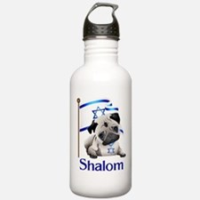 Shalom Pug with Israeli Flag Water Bottle