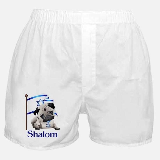 Shalom Pug with Israeli Flag Boxer Shorts