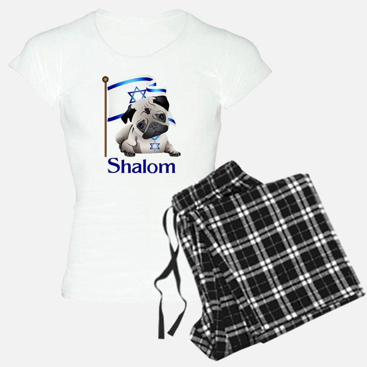 Shalom Pug with Israeli Flag Pajamas