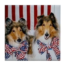 Patriotic Collies Tile Coaster