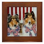 Patriotic Collies Framed Tile