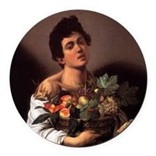 Boy with a Basket of Fruit Round Car Magnet