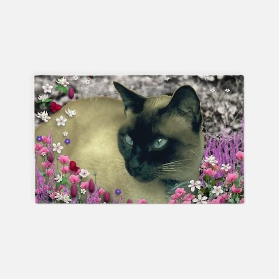 Stella Siamese Cat Flowers 3'x5' Area Rug