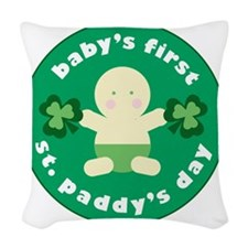 Babys First St Paddys Woven Throw Pillow
