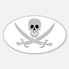 Skull & Crossed Swords Oval Decal