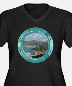 PortHole0005 Women's Plus Size Dark V-Neck T-Shirt