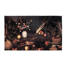 Still Life with Flowers and Fruit 3'x5' Area Rug