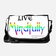 live_mindfully_black_forwhite_10x10 Messenger Bag