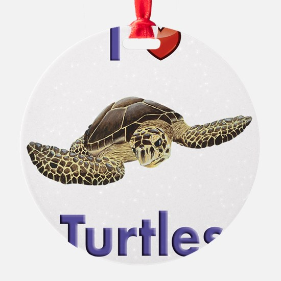 I-love-turtles-tall Ornament